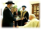 Grand Rabbi of the Ashkenazis Yona Metzger and Shlomo Amar greets the Pope on January 16th 2004