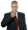 Businessman hiding his identity behind a face mask.