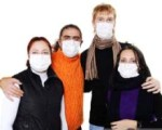 People in masks, ill flu, A(H1N1)