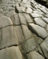 worn tracks on a Roman road